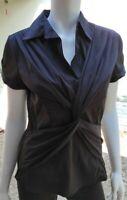 Antilia Femme Black Stretch Blouse Shirt Top Short Sleeve Size L