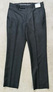 Caravelli Men's 34 (34x30) Dress Pants Slim Fit Charcoal Gray Flat Front