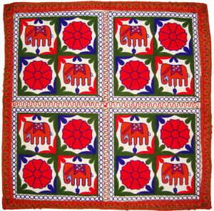 Wall tapestry wall hanging table cloth runner throw embroider elephant floral