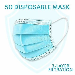 UK 50 Pack PCS 3PLY Elastic Ear Hook Face Cover Mouth Nose Covering Germs Proof