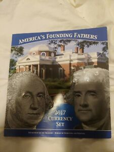 2017 AMERICA'S FOUNDING FATHERS CURRENCY SET BEP PACKAGING w/ Identical serial #