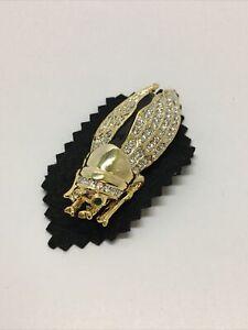 swarovski crystal pin brooch cicada bug. Locus. green Jewel eyes. Crystalwings