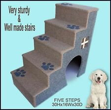 30' tall wooden dog steps, pet stairs for dogs or cats. Dog furniture.