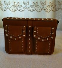 ZARA BROWN SUEDE LEATHER STUDDED MESSENGER BAG REF.4124/004 NWT!!