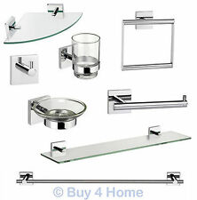 Glass Bath Accessory Sets with Soap Dishes & Dispensers