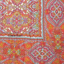 STUDIO D QUEEN QUILT SET 4pc PILLOW 100% Cotton MOROCCAN Floral Border Red Aqua