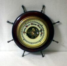 "Vintage Antique Working Brass & Mahogany Ship'S Wheel ""Germany"" Barometer"
