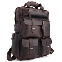 "Men Leather Backpack 17"" Laptop Bag Hiking Travel Bag Camping Carry On Daypack"