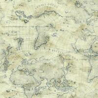 Nautical Blue World Map on Cream Sure Strip Wallpaper NY4837
