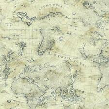 Nautical Blue World Map on Cream Sure Strip Wallpaper NY4837