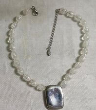 """Cookie Lee ST Metal Clear Crackle Glass Bead Rectangle Pendant 18.5"""" Necklace"""
