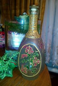 RUSSIAN HOMEMADE DECOR BOTTLE. HADMADE STAINED GLASS