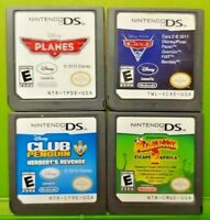 Nintendo DS Lite 2ds 3ds Disney Game Lot Planes, Cars 2, Penguin, Madagascar 2