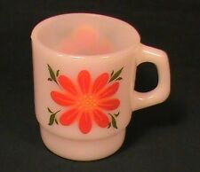 Fire King Anchor Hocking Orange and Red Flower Small C Handle Stackable Mug