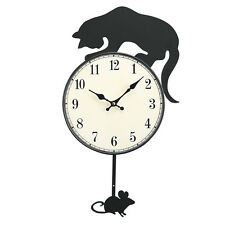 Cat And Mouse Pendulum Clock, Black, by Collections Etc