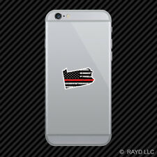 Distressed Thin Red Line Pennsylvania Shaped Subdued US Flag Cell Phone Sticker