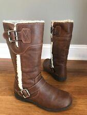 BOC Born Brown Vegan Leather Faux Fur Lined Mid Calf Riding Boots Sz 5