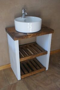 NEW PAINTED RUSTIC CHUNKY VANITY SINK UNIT WASHSTAND BATHROOM READYMADE