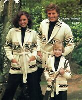 Man, Women & Child Jacket knitting pattern, chunky.Family Cardigan, Coat. Boy