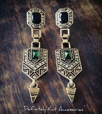 Stunning vintage Gatsby art deco white & green crystal dangling stud earrings