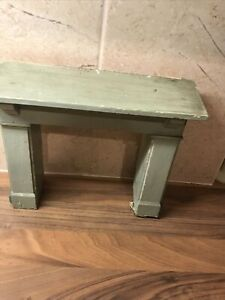 "Large Vintage Dolls House Wooden Surround Fireplace 7"" x 7.5"" Green"