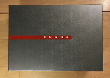 Prada Silver Gray Empty Shoe Box Gift Box 13.5 x9.5x5 w/ Tissue Paper & Dustbag