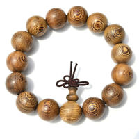 15mm Wood Tibet Buddha Buddhist Prayer Beads Bracelet Mala Bangle Wristband HI