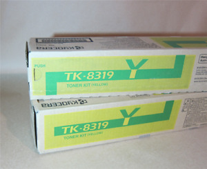 [0360*] TWO (2x) KYOCERA TK8319Y YELLOW TONER CARTRIDGES  ( RRP>$135)