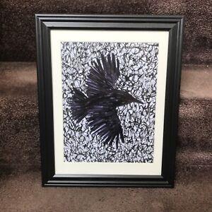 ORIGINAL Abstract Crow Framed 8.5x11 Art Ink Drawing Farm Animal Farmer Goth