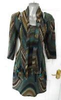 ❤ STELLA MORGAN Size 10 Blue Brown Soft Stretch Jumper Dress and Scarf Pockets