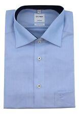 "Mens Shirt Olymp Tendenz 17.5"" Regular Fit Sky Blue Contrast Cotton Long Sleeve"