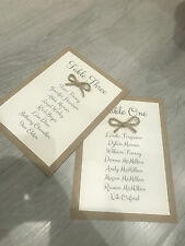 Vintage Retro Table Plan Cards with Twine Bow wedding, partys
