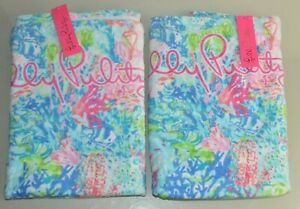 NEW Lilly Pulitzer 2 PC SET Beach Terry Towels Fished My Wish Towel Blue Pink