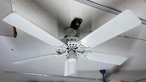 """Hunter Original Cast Iron 52"""" Ceiling Fan, 2.0 Amp, Model 23856, USA Made, White"""
