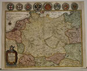 GERMANY CENTRAL EUROPE 1646 MERIAN UNUSUAL ANTIQUE ORIGINAL COPPER ENGRAVED MAP