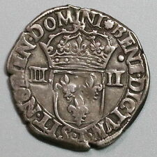 1586-T HENRY III King FRANCE & Poland Silver 1/4 Ecu Coin (16092702R)