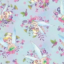 Disney Tinker bell Watercolor Blue 100% cotton Fabric Remnant 35""