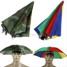 Foldable Fishing Hiking Golf Beach Headwear HandsFree Umbrella Sun Rain Hat Cap
