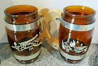 Two Vintage Siesta Ware Brown Barrel Glass Mugs Wood Handle Brass Pre-owned