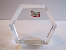 """BACCARAT HEXAGON CRYSTAL CLEAR PAPERWEIGH- 3 1/4"""" TALL - SIGNED - MINT - NO BOX"""