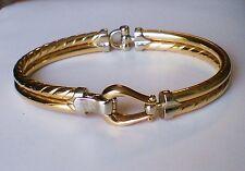 Vintage Solid 14K 585 Yellow White Gold Belt Buckle Bangle BRACELET 14kt 15.7 g