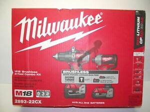 NIB Milwaukee 2893-22cx M18 18volt 2 Tool Hammer Drill & Impact Combo Kit Brush