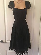 Karen Millen Black Laser Cut Cotton Dress size 14