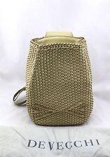$755 DE VECCHI HAMILTON HODGE Tan Woven Leather Knapsack Backpack Bag Italy