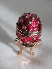 Gorgeous Collectible Decorative Red and Gold and Gems Egg Trinket Box on Stand