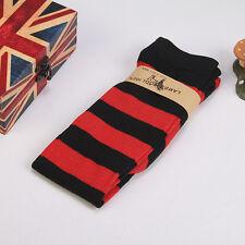 Women Girl Sheer Striped Thigh High Stockings Plus Size Over The Knee Socks
