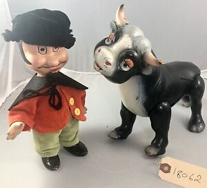 "9"" Antique Composition Walt Disney's Matador & Ferdinand the Bull Doll! Rare!"