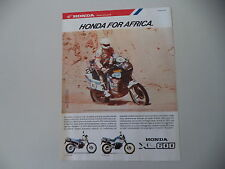 advertising Pubblicità 1987 MOTO HONDA XL 600 RM/LM e EDI ORIOLI PARIS DAKAR