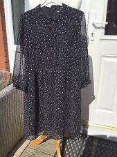 Uniqlo Womens Chiffon Look Long Sleeve Fully Lined Ditsy Pattern  Dress Size M