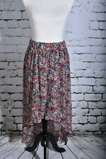 NOBO Size Large (11/13) Pull On Asymmetrical Skirt Navy Blue Pink Floral BOHO